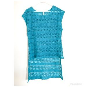 Women's Teal  knit high low tunic cover up